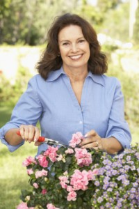midlife woman gardening